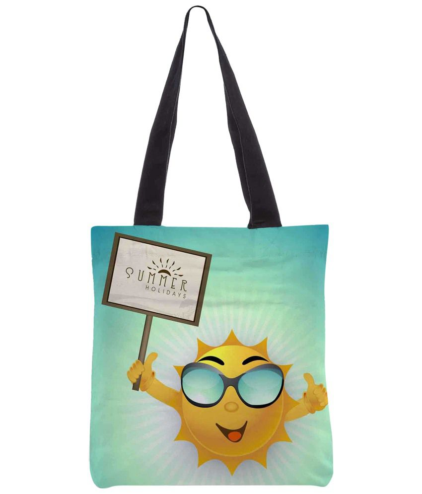 Snoogg Blue & Yellow Polyester Unisex Tote Bag