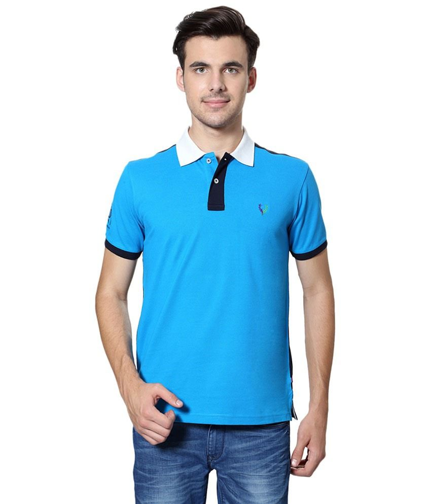 Allen Solly Blue & Black Solid Casual Polo T Shirt