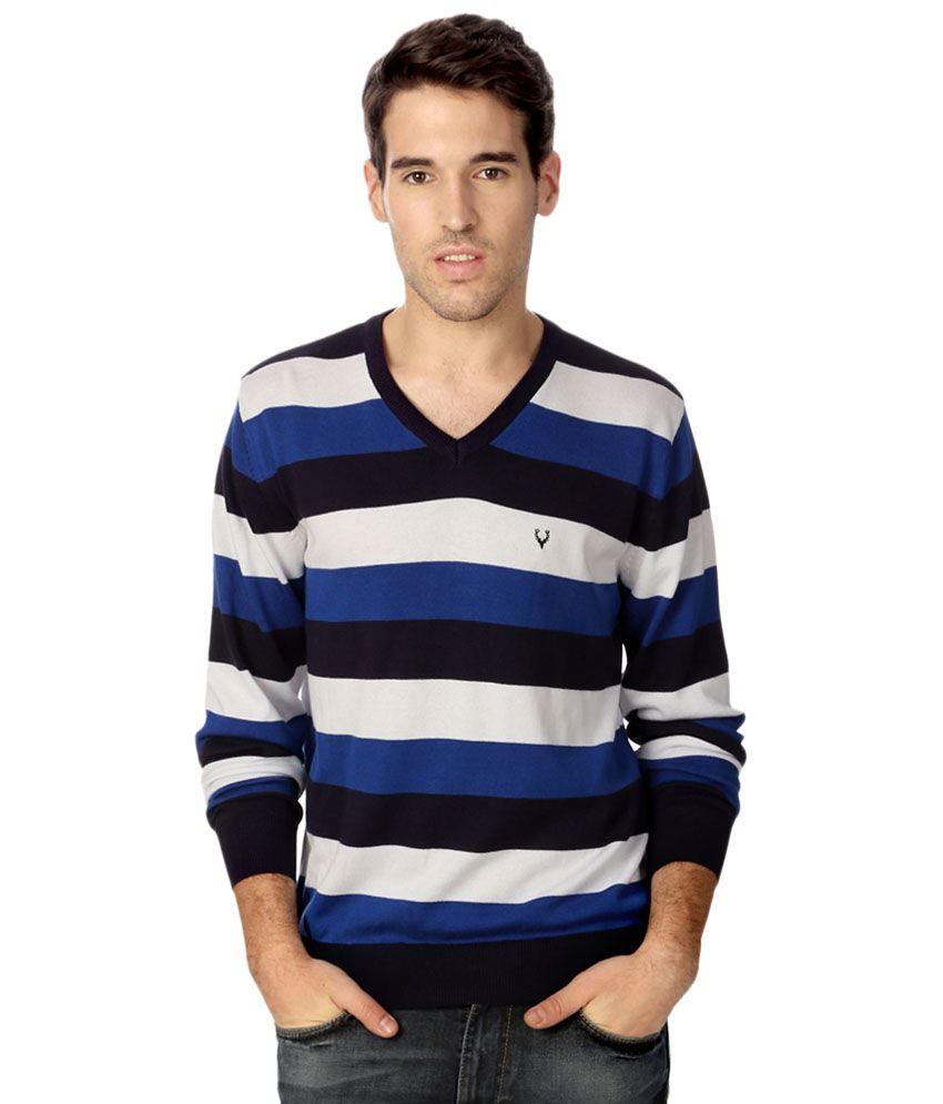 Allen Solly Blue & Black T Shirt for Men
