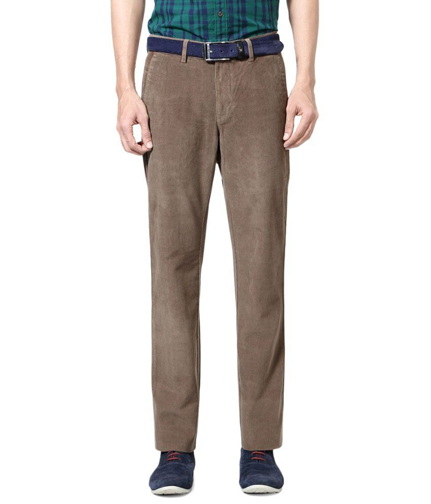 Allen Solly Brown Casual Trousers
