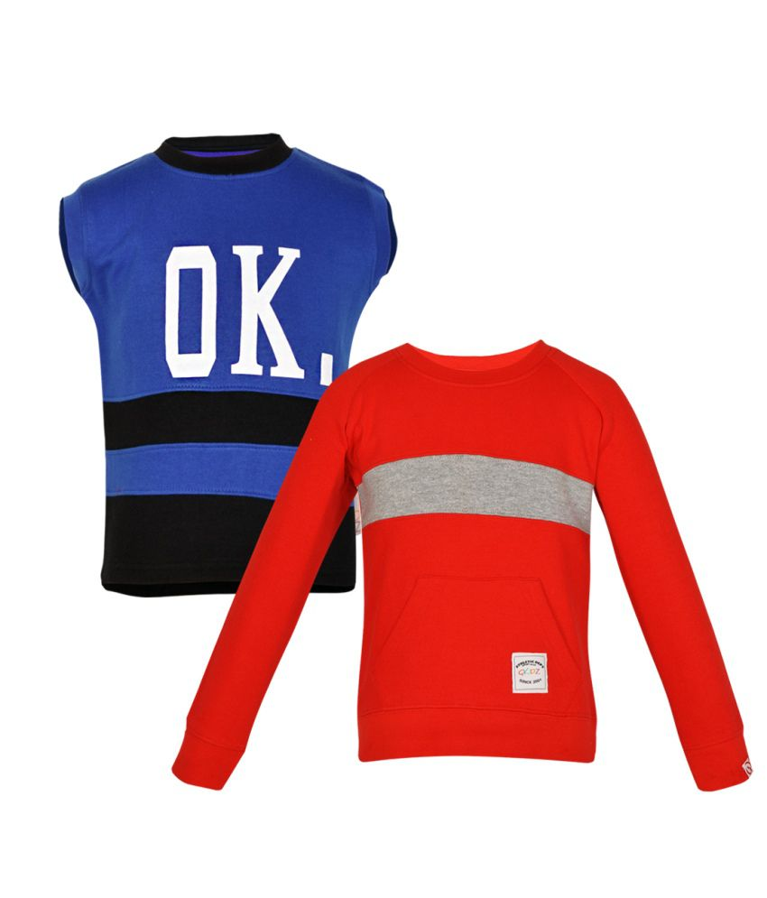 Gkidz Multicolour Cotton Sweatshirts For Boys (Set Of 2)