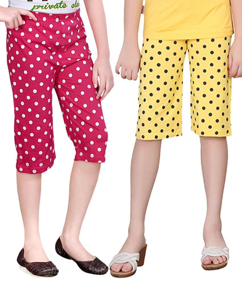 Sinimini Multicolor Cotton Capri - Pack Of 2