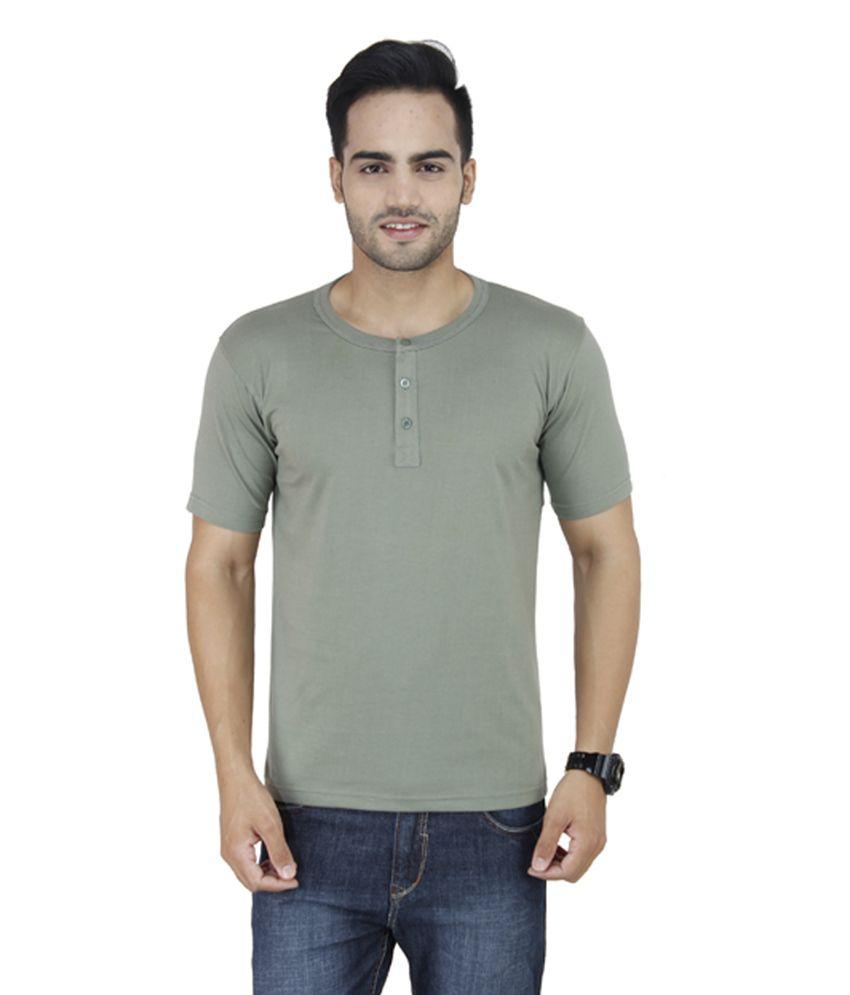 Stylogue Grey Cotton Blend Henley Neck T-Shirt