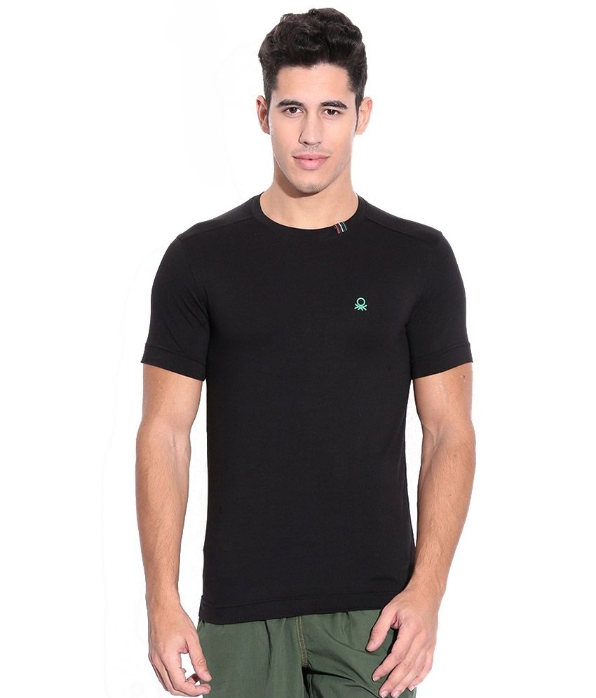 United Colors Of Benetton Black Cotton Blend T-Shirt