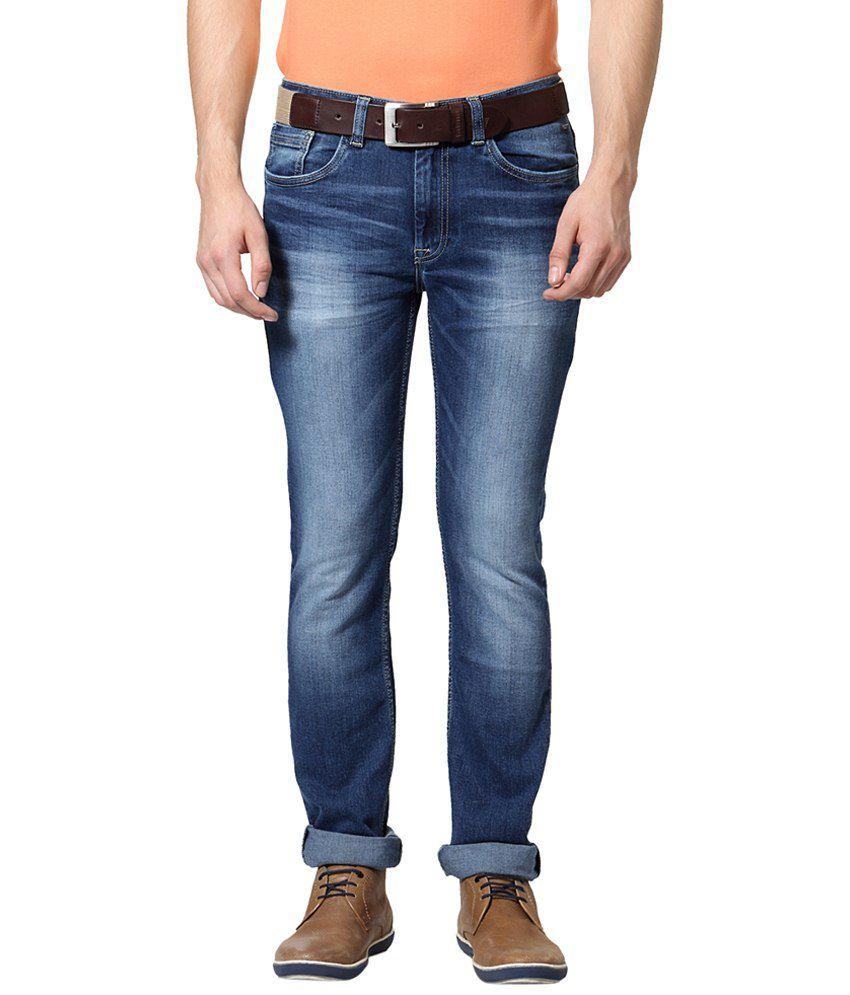 Van Heusen Blue Solid Casual Jeans