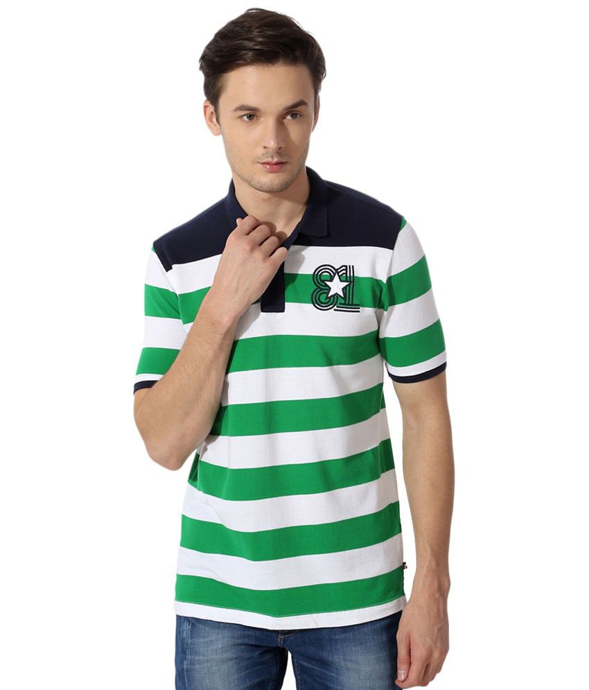 Van Heusen Green & White Striped Polo T Shirt