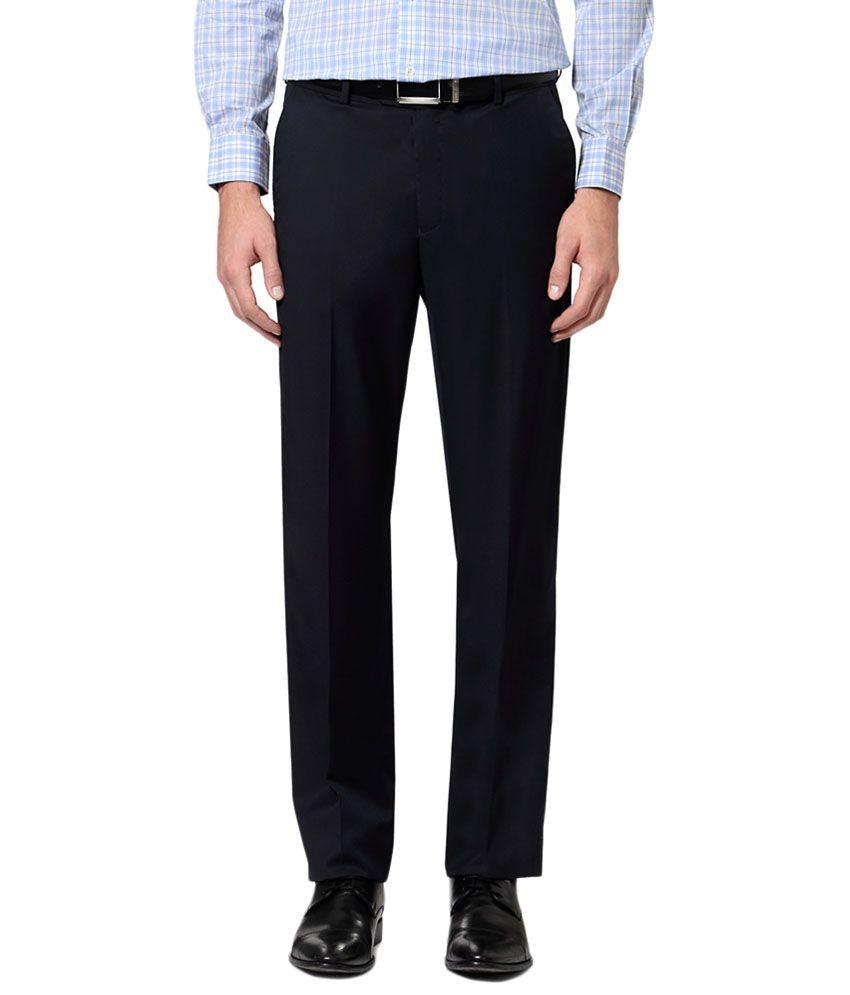 Van Heusen Navy Blue Solid Formal Trousers