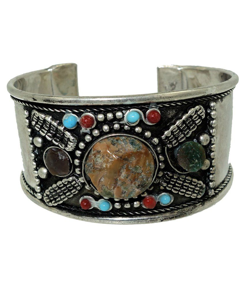 Anjan Antique Silver Coloured Bead Cuff