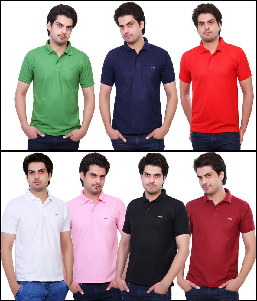 Hwc Multicolour Half Sleeves Polo T-shirt - Pack Of 7