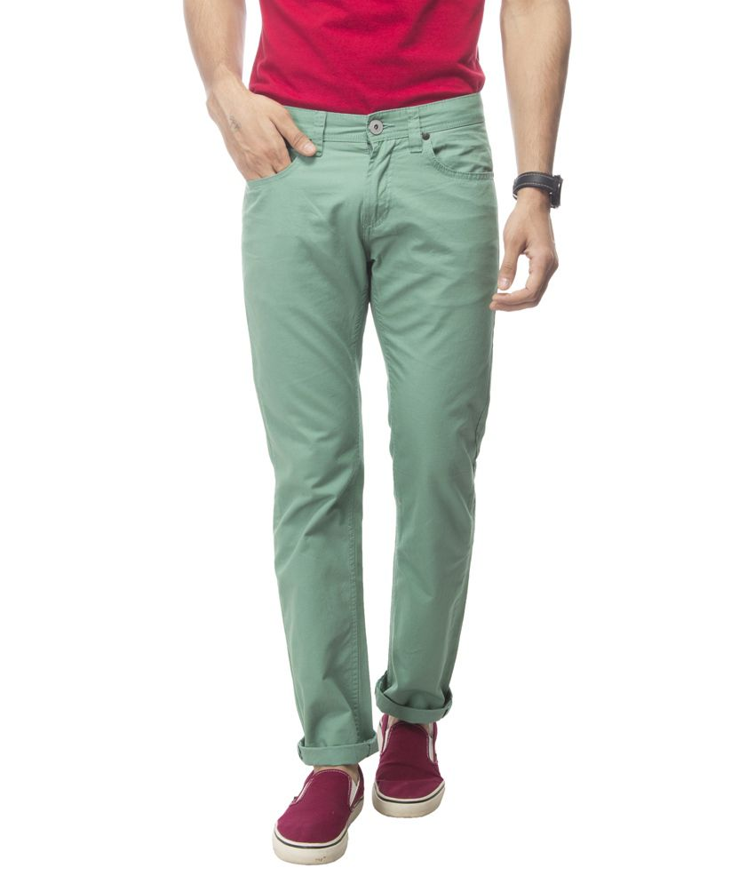 ABIDA Green Regular Fit Casual Chinos