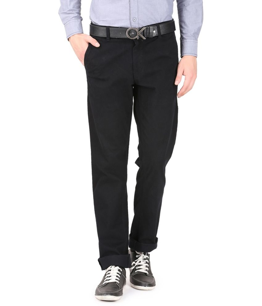 French Republic Black Blended Cotton Trousers