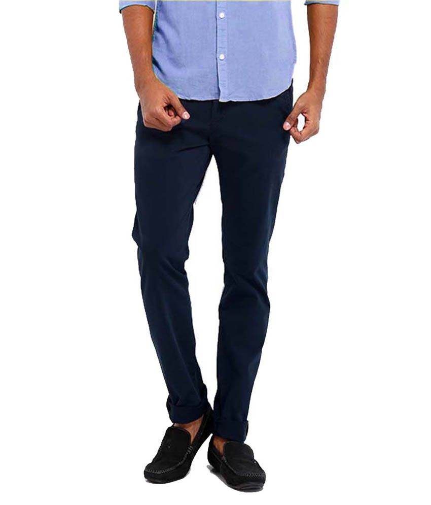 Goodkarma Navy Slim Fit Casuals Chinos
