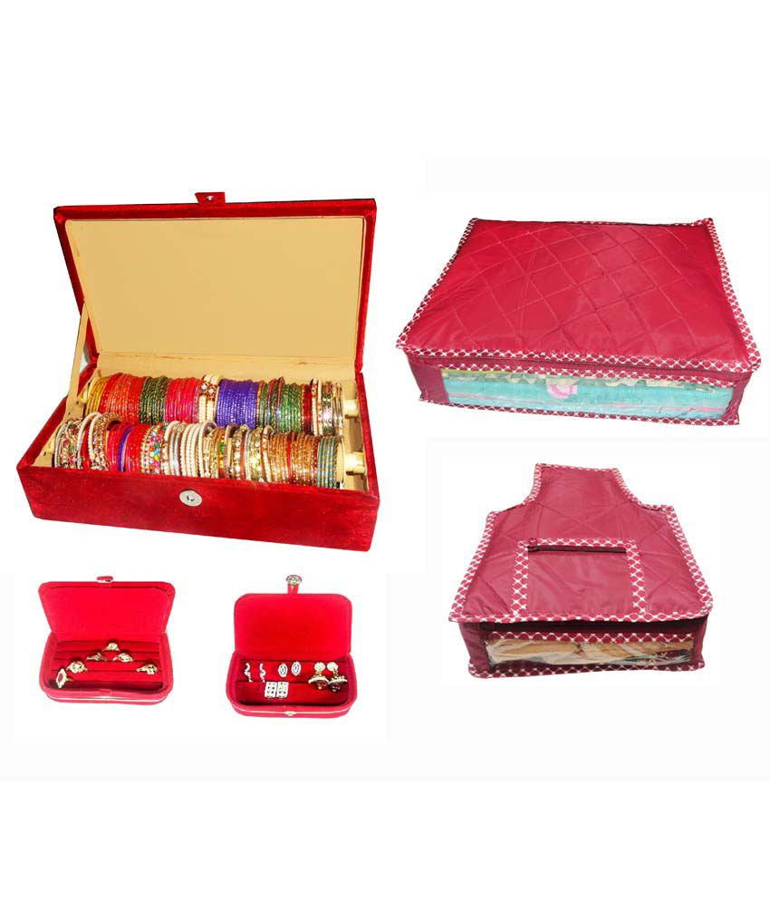 Atorakushon Combo Of Designer 2 Roll Rod Bangles Box, 1 Saree Cover, 1 Blouse Cover, 1 Earring Box And 1 Ring Box