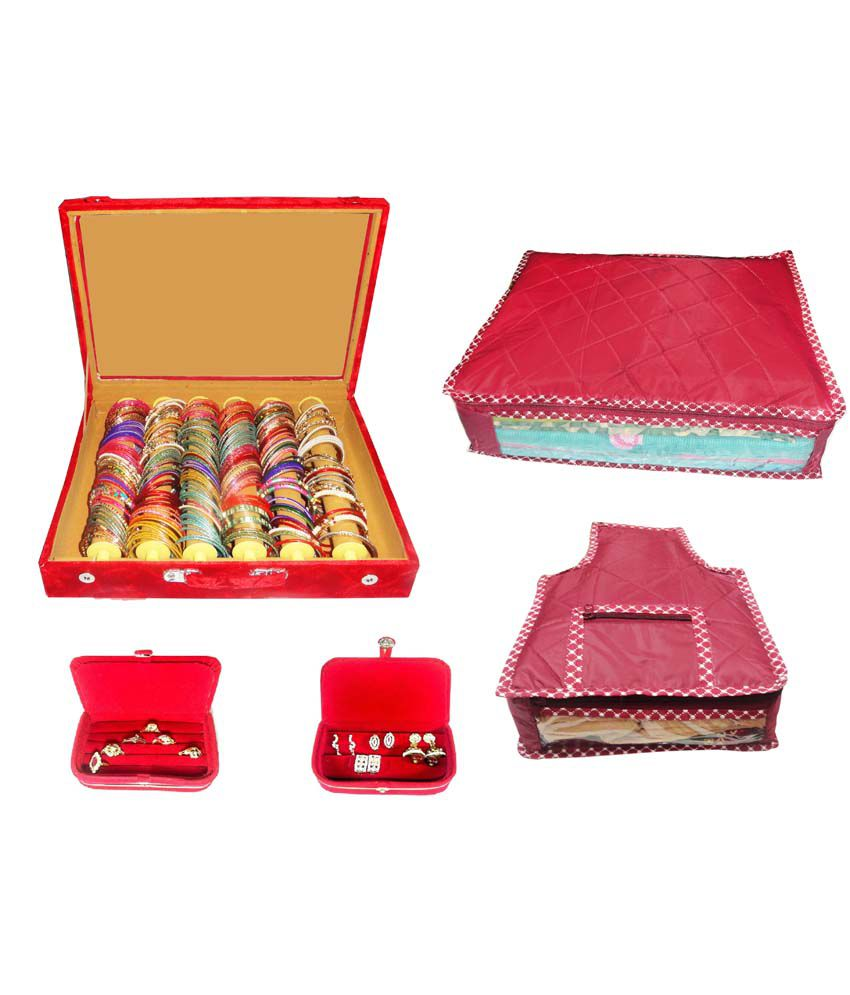 Atorakushon Combo Of Designer 6 Roll Rod Bangles Box, 1 Saree Cover, 1 Blouse Cover, 1 Earring Box And 1 Ring Box
