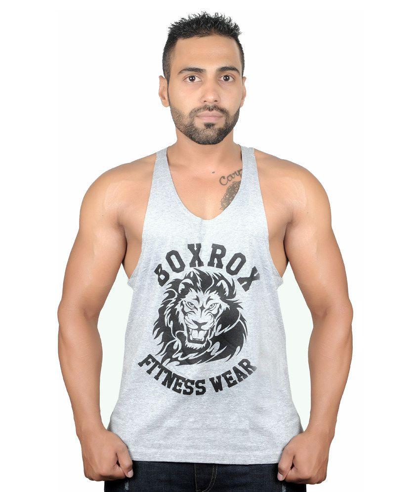 Boxrox Fitness Wear Grey Cotton T-Shirt