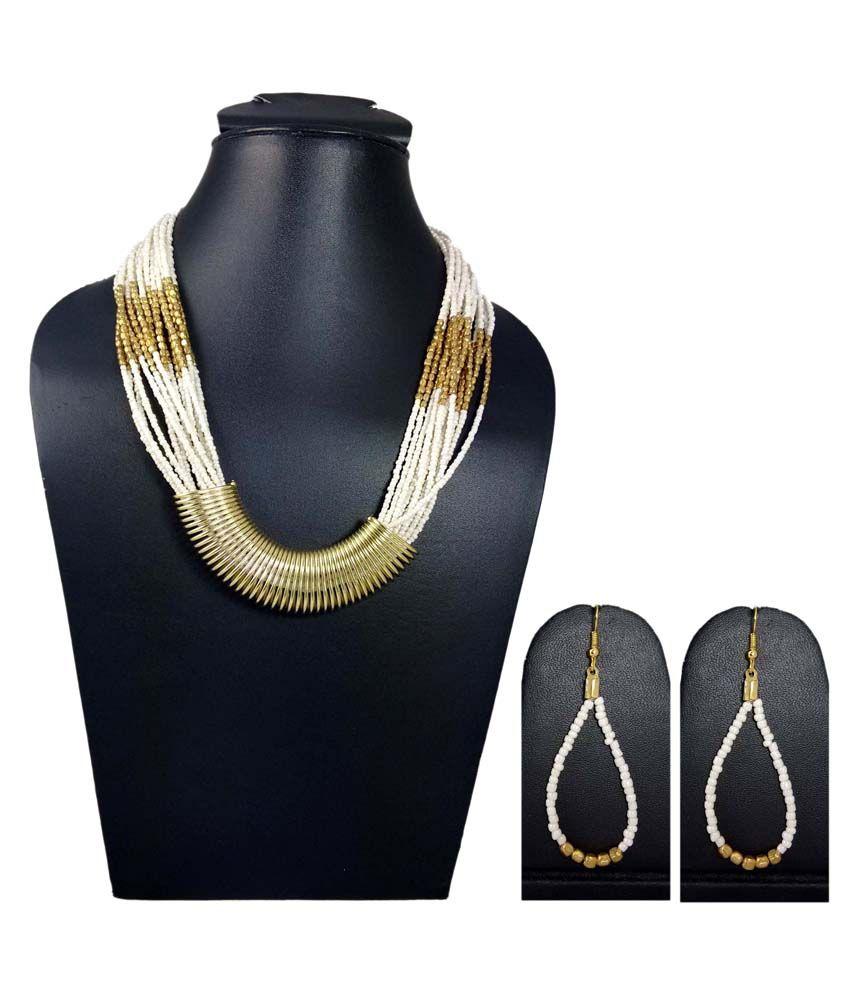 Hotpiper White Acrylic Contemporary Designer Necklace Set