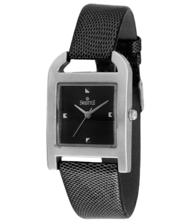 Swisstyle Black Strap Analogue Wrist Watch for Women