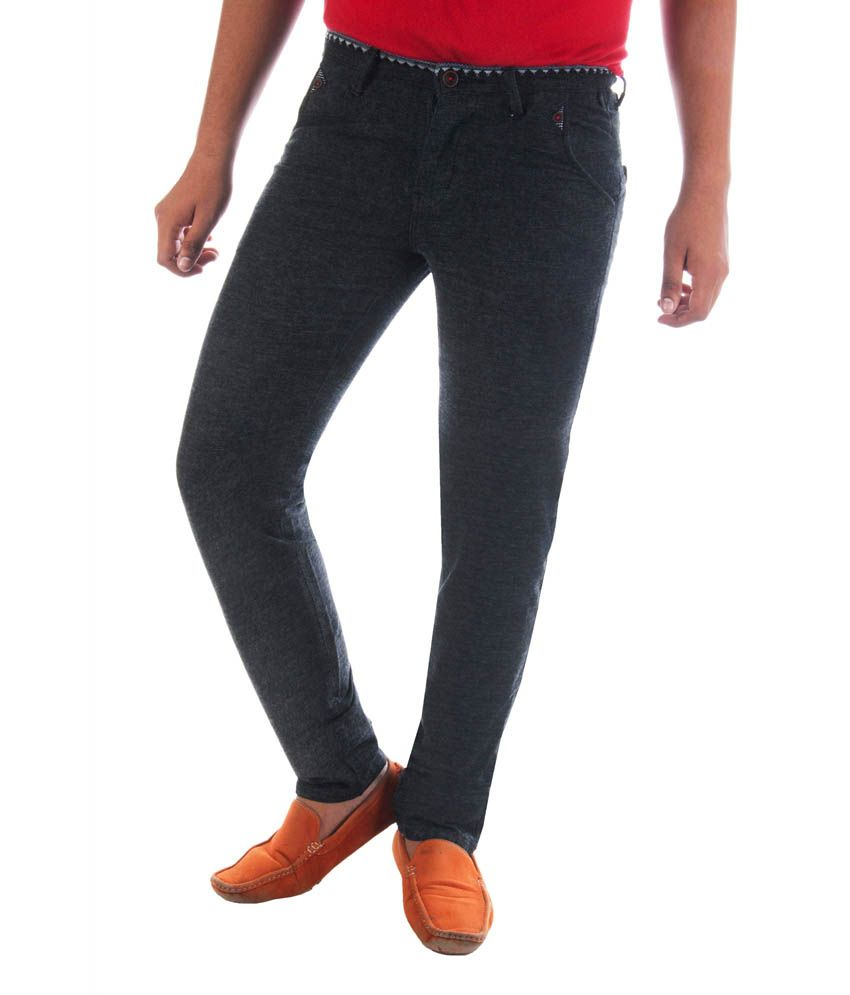 Urban Navy Black Slim Fit Casual Chinos Trousers
