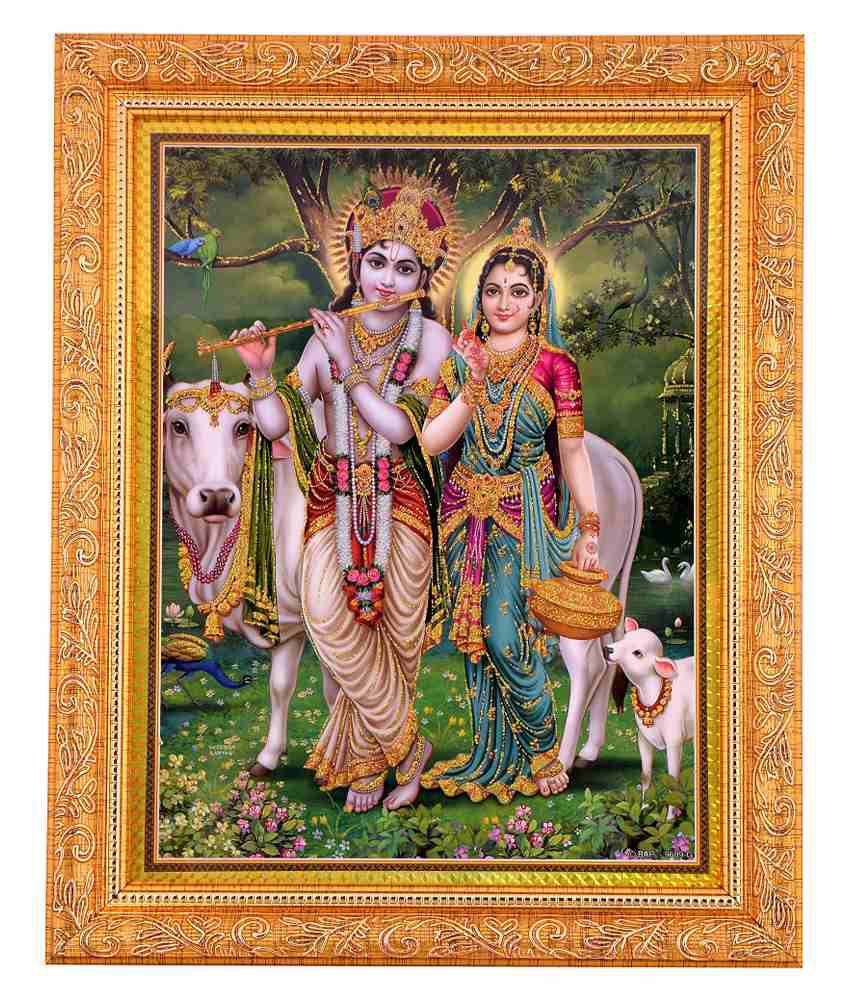 Bm Traders Golden Photo Of Radha Krishna With Golden Frame
