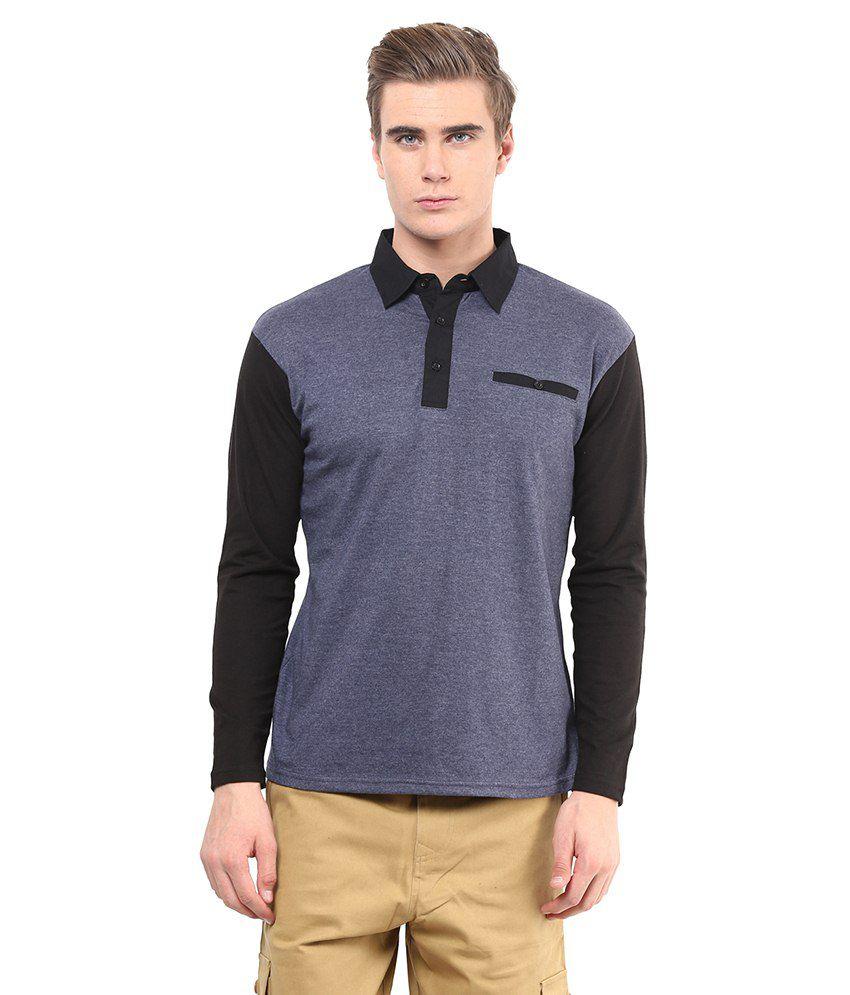 Hypernation Gray & Black Cotton Polo T-Shirt