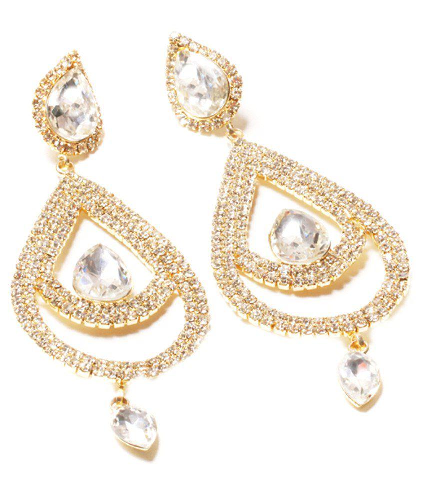 A B Jewllers Golden & Silver Alloy Hanging Earrings