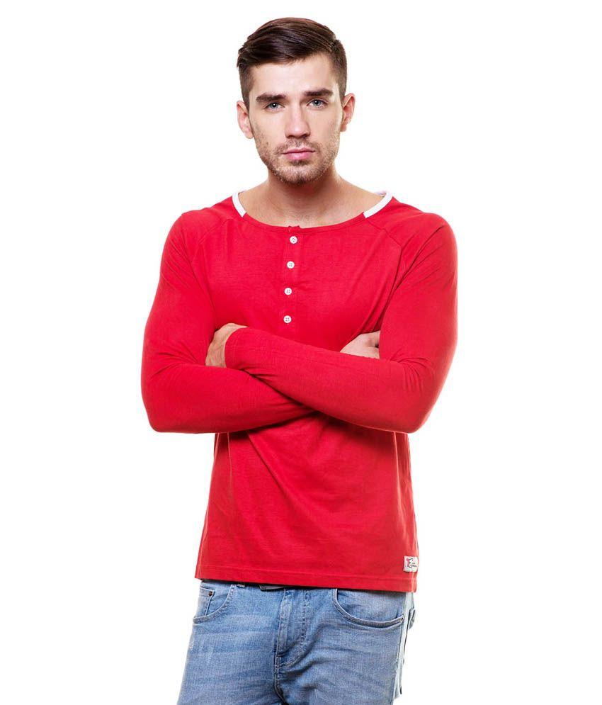 Enquotism Red Cotton Henley T-Shirt