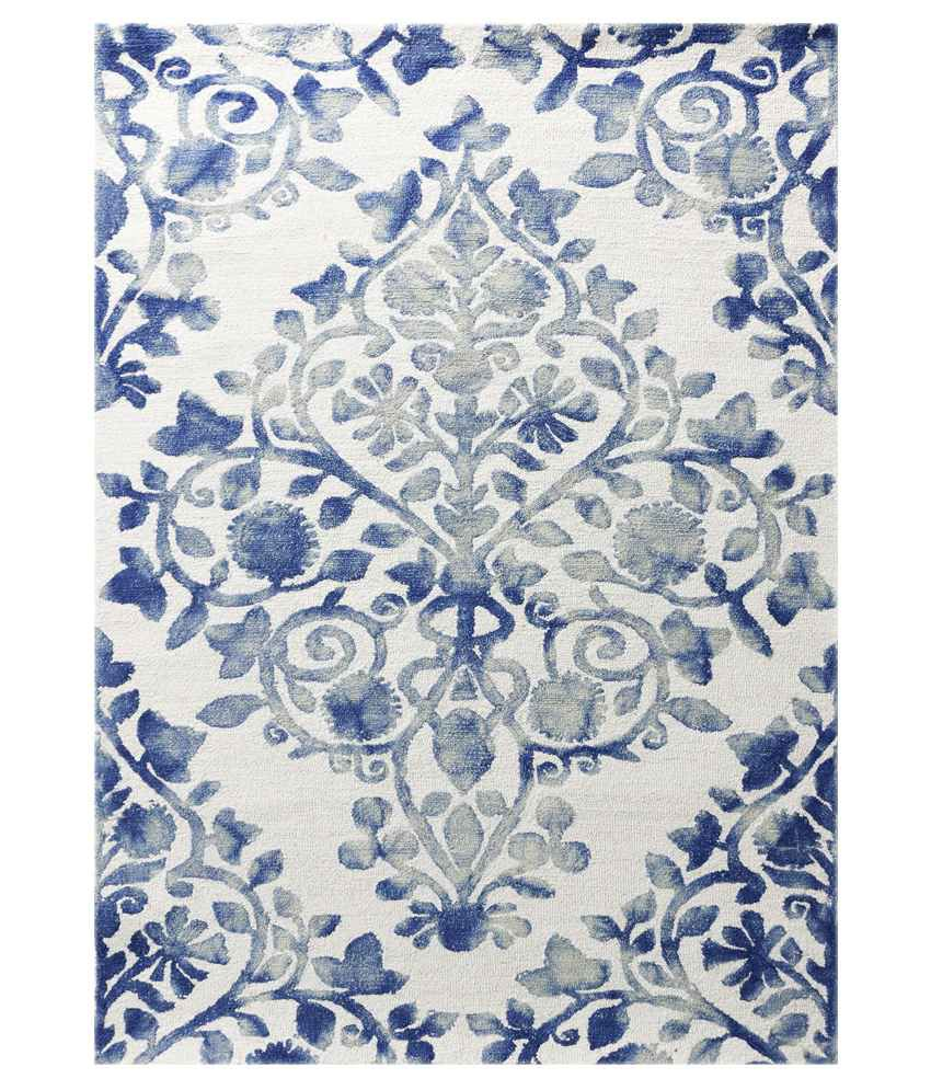 Saraswati global white blue carpet buy saraswati for Blue and white carpet