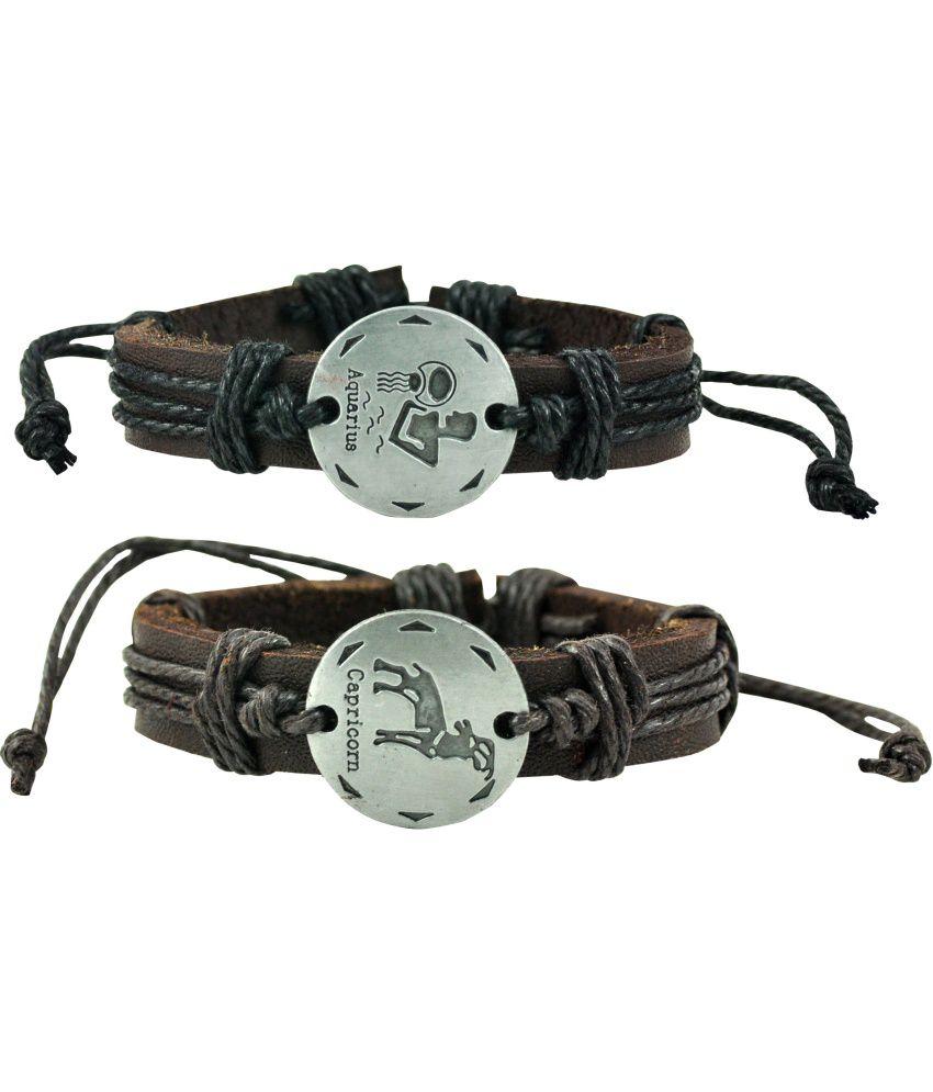 Alpha Man Aquarius - Visionary Thinker Black Thread Woven Combo Bracelet