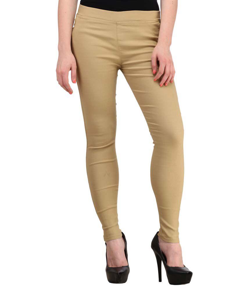Fashion Arcade Cotton Lycra Jeggings - Beige