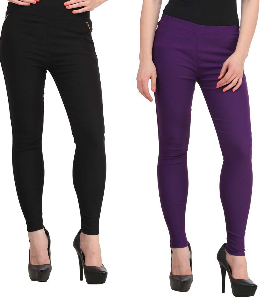 5f643dd3197ac3 Buy Fashion Arcade Pack of 2 Black & Purple Solid Cotton Lycra Jeggings  Online at Best Prices in India - Snapdeal