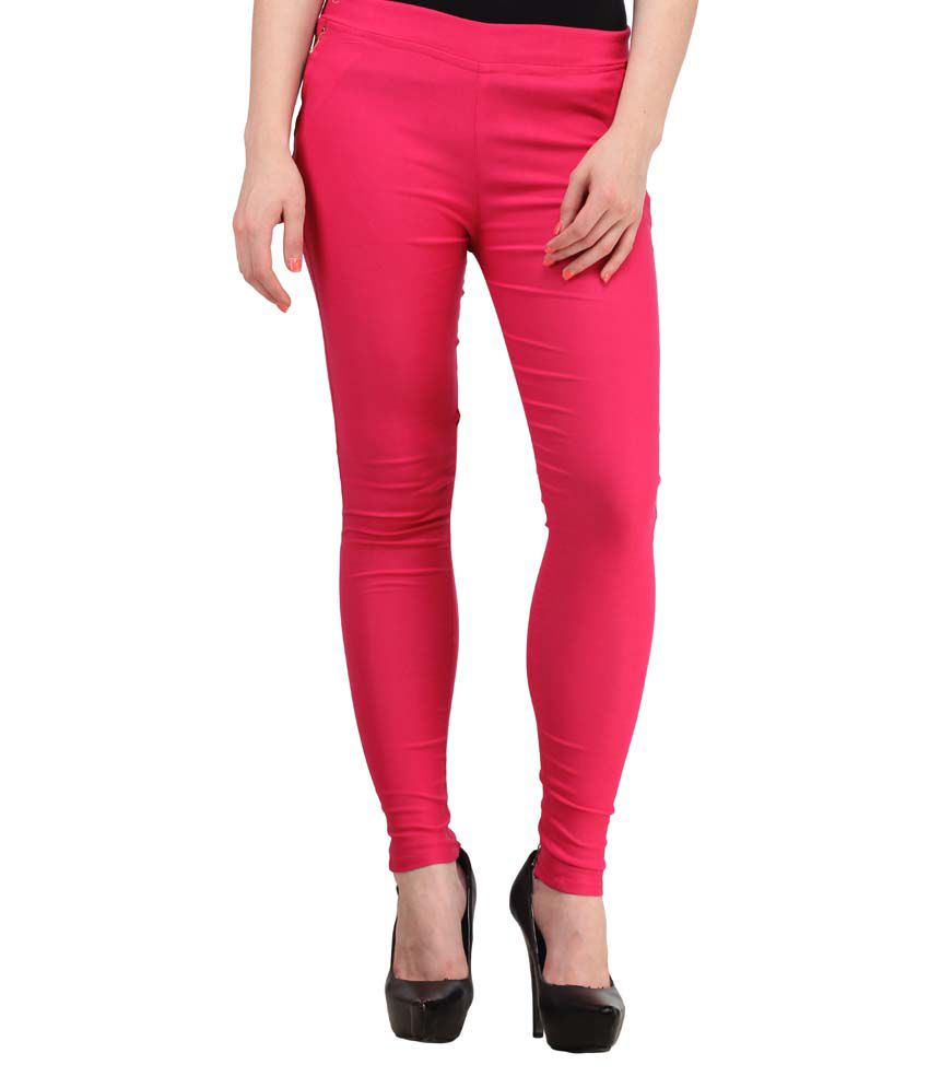 Fashion Arcade Pink Solid Cotton Lycra Jeggings