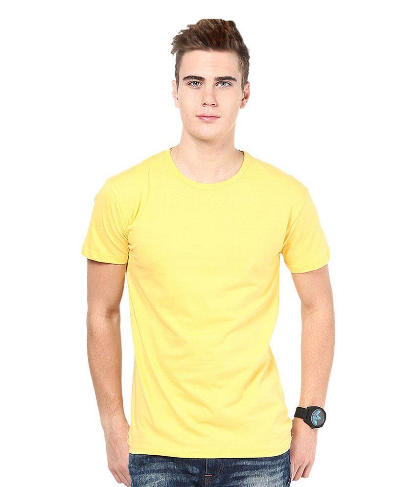 Funky Guys Yellow Cotton Blend T-shirt