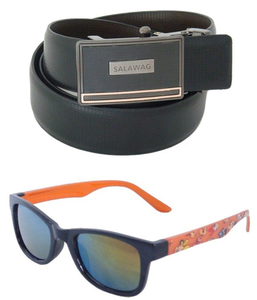 Sfa Combo Of Black Formal Reversible Belt And Sunglasses For Men