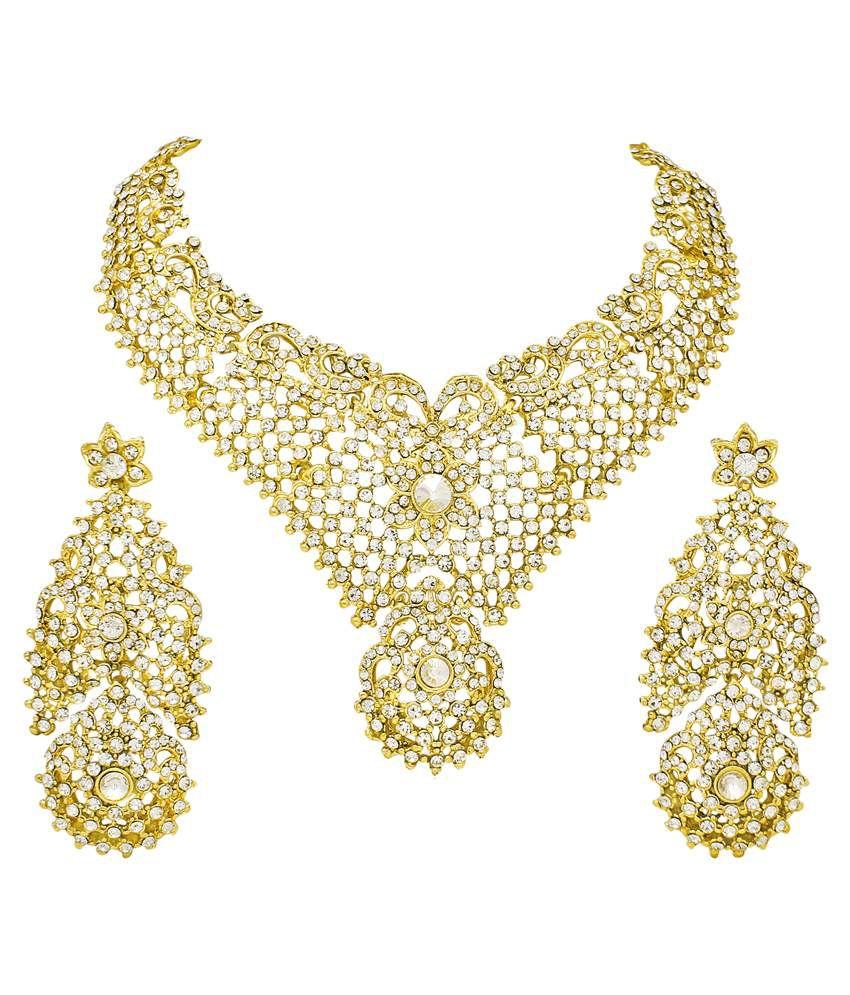 Atasi International Golden Alloy Austrian Diamonds Necklace Set