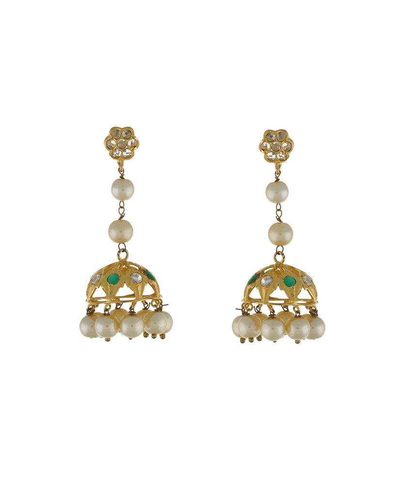 Chaahat Fashion Jewellery Golden Copper Jhumkis