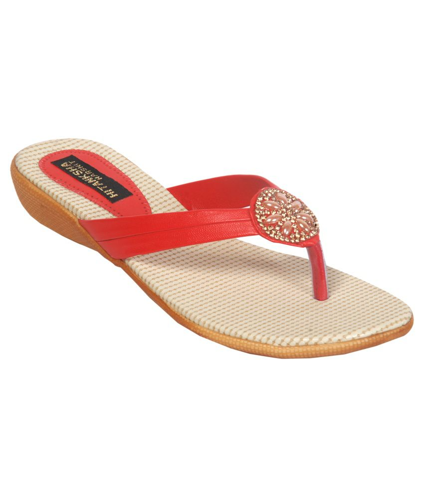Hitanksha Harshit Red Flat Slip-on