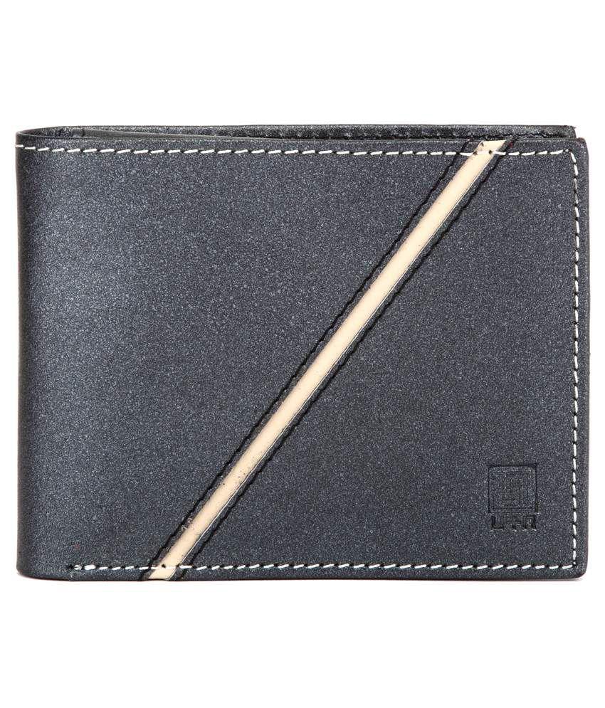U+N Black Leather Regular Wallet