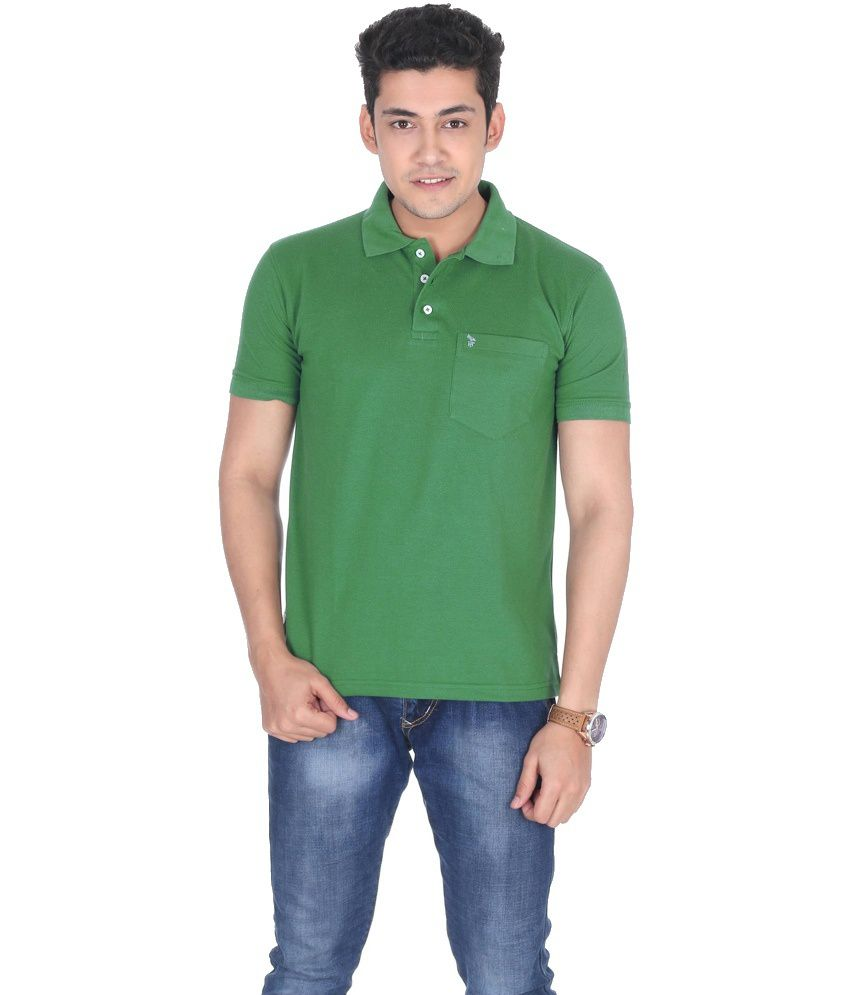 Flicker Hoods Green Half Basic Polo T-shirt