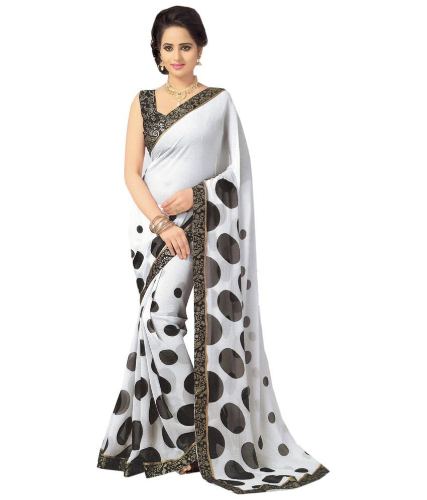 84920dc382f1f6 Anuraag White and Grey & Black Chiffon Printed Saree with Blouse Piece - Buy  Anuraag White and Grey & Black Chiffon Printed Saree with Blouse Piece  Online ...