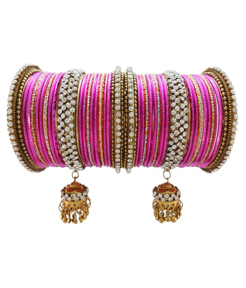 82ea87fe424 My Design Pink Bridal Chura Bangles: Buy My Design Pink Bridal Chura Bangles  Online in India on Snapdeal