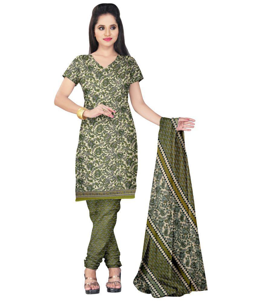 Prafful Green Art Crepe Unstitched Dress Material