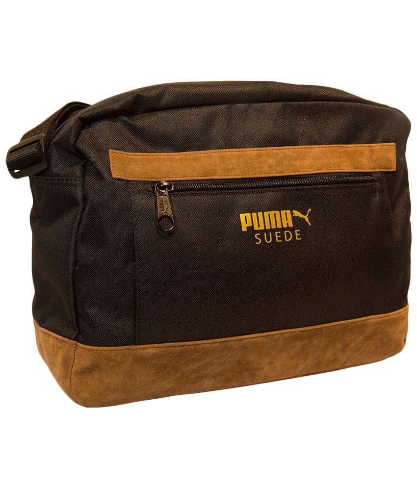 58a23d5f74 Puma Black & Yellow Suede Messenger Bag Puma Black & Yellow Suede Messenger  ...