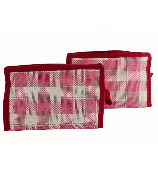 Kitsandpouches Pink Fibre Travel Kit - Pack Of 2