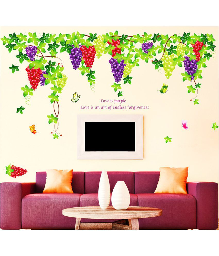 Stickerskart living room grapevine design with quote wall for Living room decor quotes