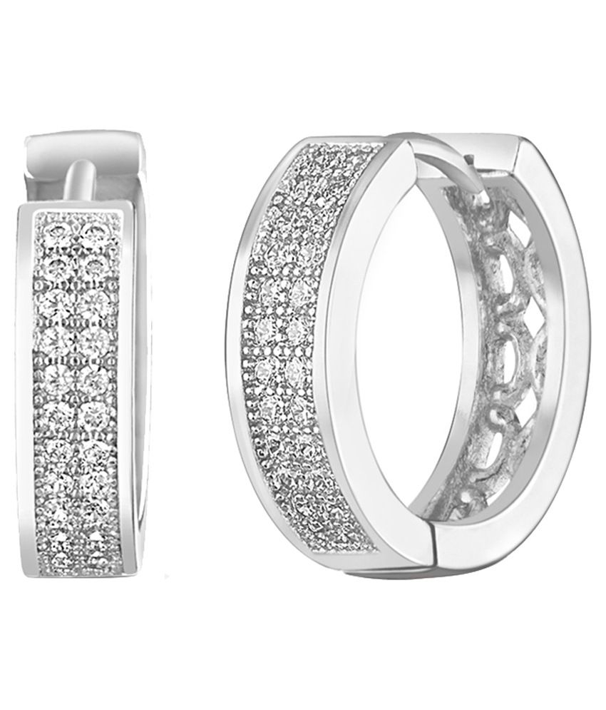 Mahi Silver Alloy CZ Hoop Earrings