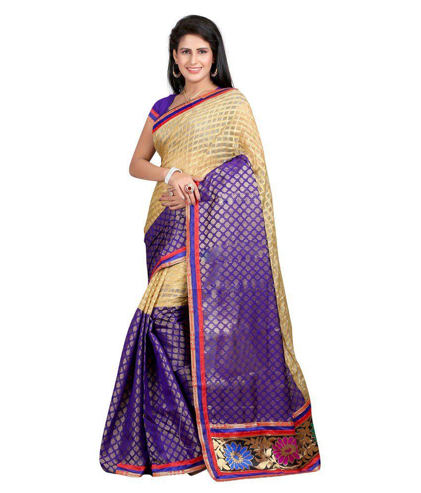 Reveka Fashion Beige Chanderi Saree