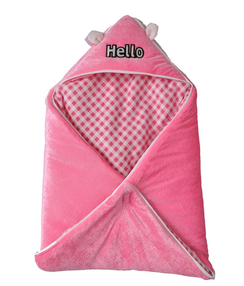 Silver Stone Pink Shearing And Polyfill Baby Wrap Blanket