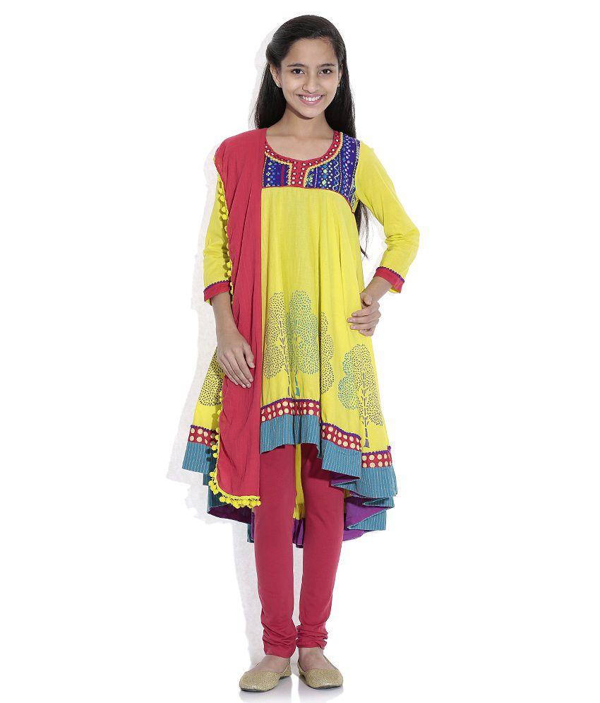 Biba Cotton Blend Lime Green Full Sleeve Salwar Kameez For Kids