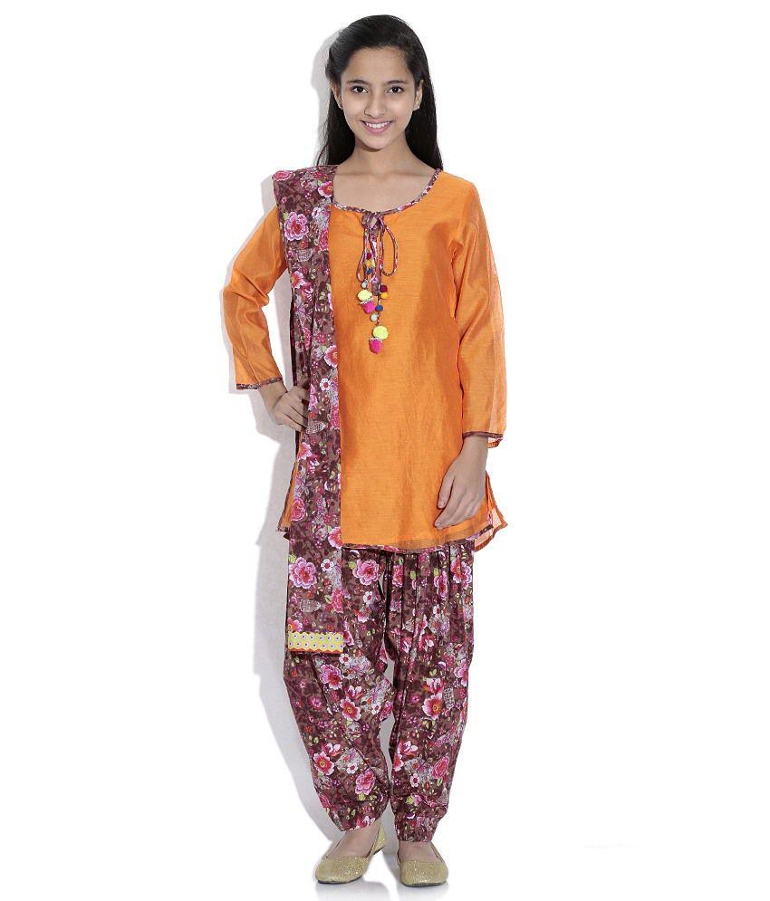 Biba Cotton Blend Orange And Brown Full Sleeve Salwar Kameez For Kids