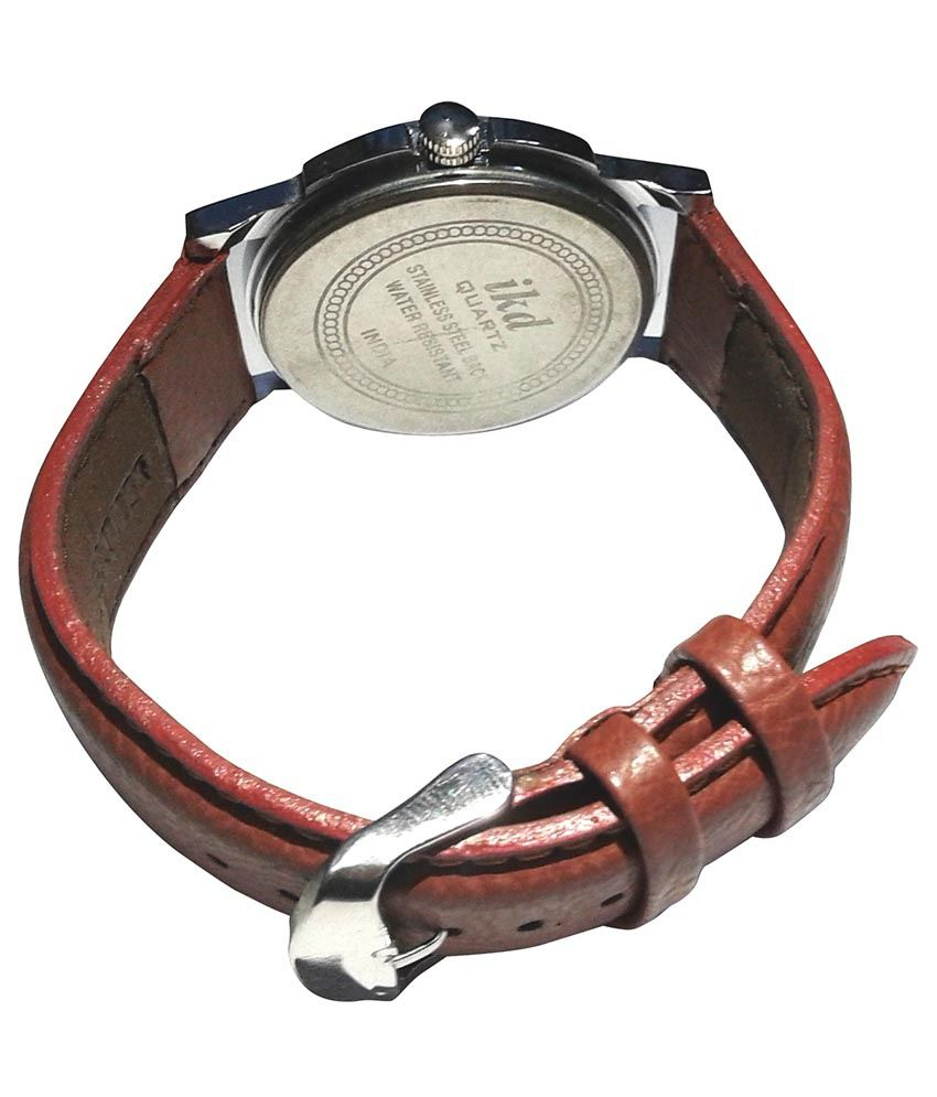Ikd: IKD Brown Leather Analog Watch